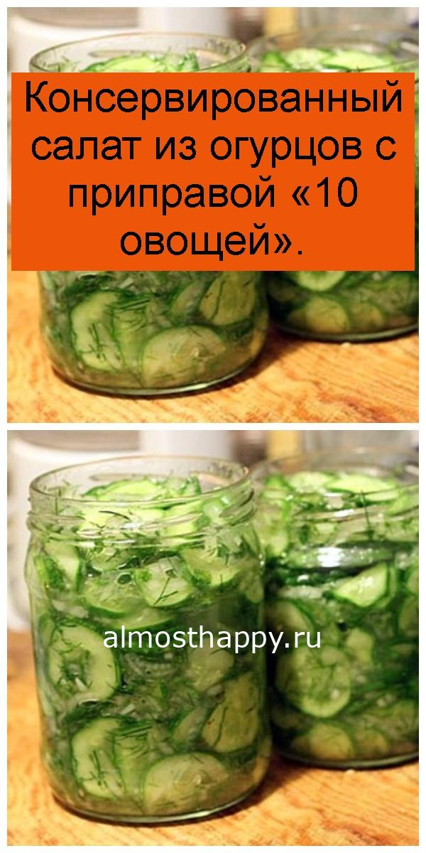 Консервированный салат из огурцов с приправой «10 овощей» 4