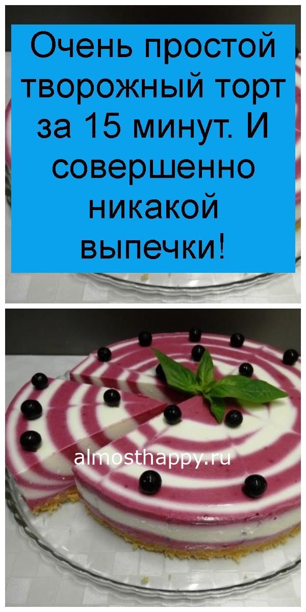 Очень простой творожный торт за 15 минут. И совершенно никакой выпечки 4