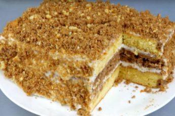 Рецепт вкуснейшего торта со сгущенкой за 30 минут 1